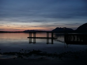 A lonely dock at sunset, Victoria, BC, Canada